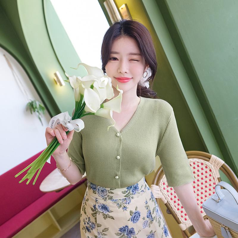 attrangs-cd1110 진주장식으로 영롱함을 선사할 성글한짜임의 여름니트 반팔 가디건 cardigan♡韓國女裝外套