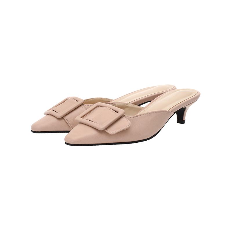 attrangs-sh1271 여리한 페일컬러구성의 빅 레더 버클 뾰족코 로우 뮬shoes♡韓國女裝鞋
