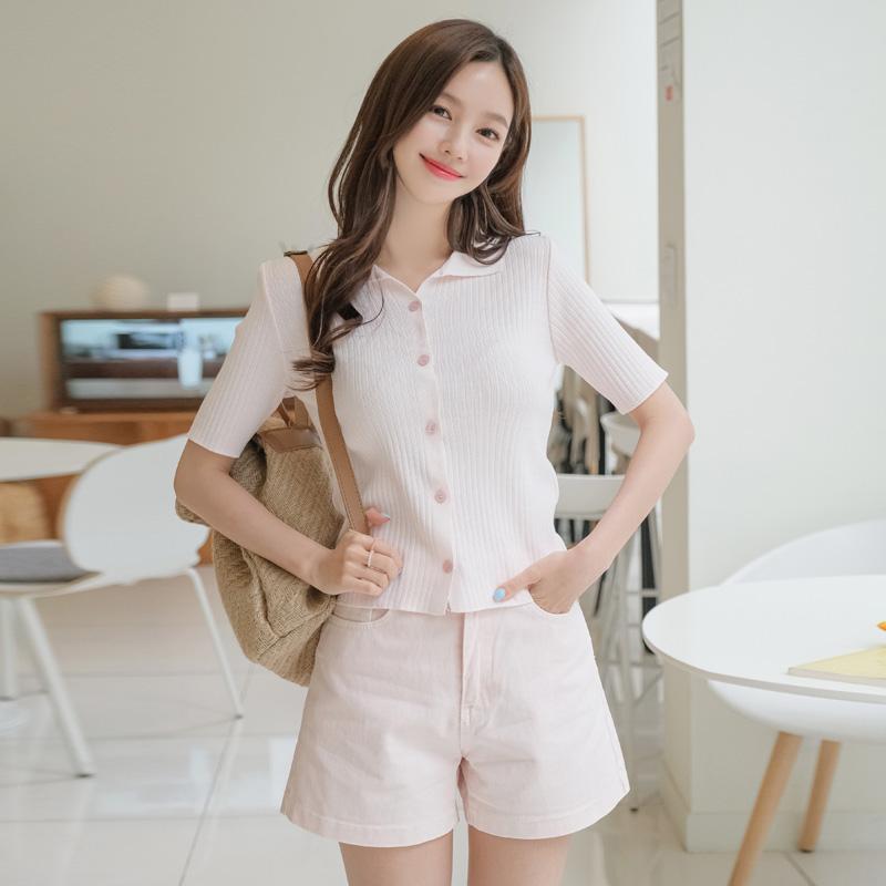 attrangs-ps2229 여리한 파스텔 컬러 구성의 하이웨이스트 데일리 기본 반바지 pants♡韓國女裝褲