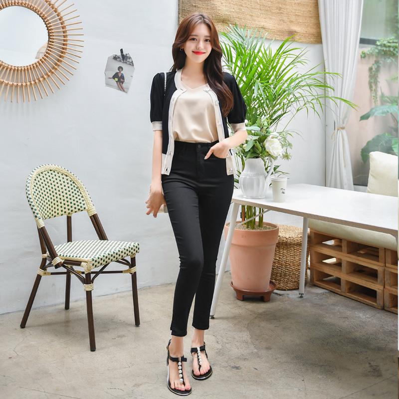 attrangs-ps1835 쫀득한 신축성의 사이드 슬릿 장식 하이웨이스트 슬림 팬츠 pants♡韓國女裝褲