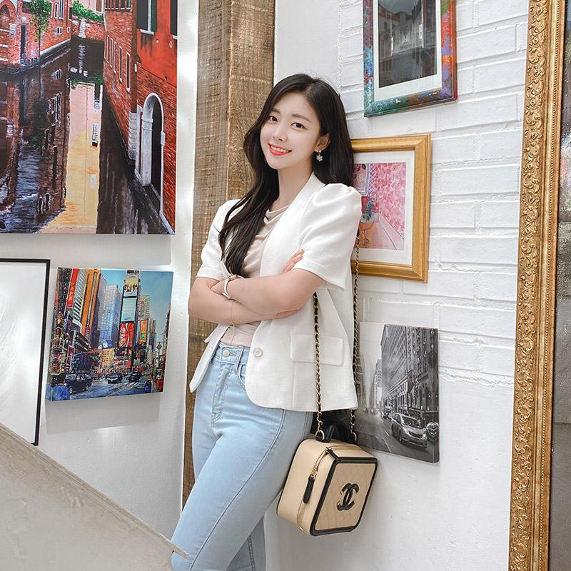 attrangs-jk1240 매력적인 둥근카라넥 디자인의 퍼프소매 썸머 반팔자켓 jacket♡韓國女裝外套