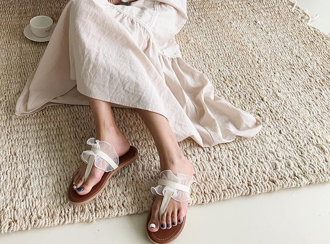 naning9-르쥬앙 프릴쪼리슬리퍼(B06)♡韓國女裝鞋