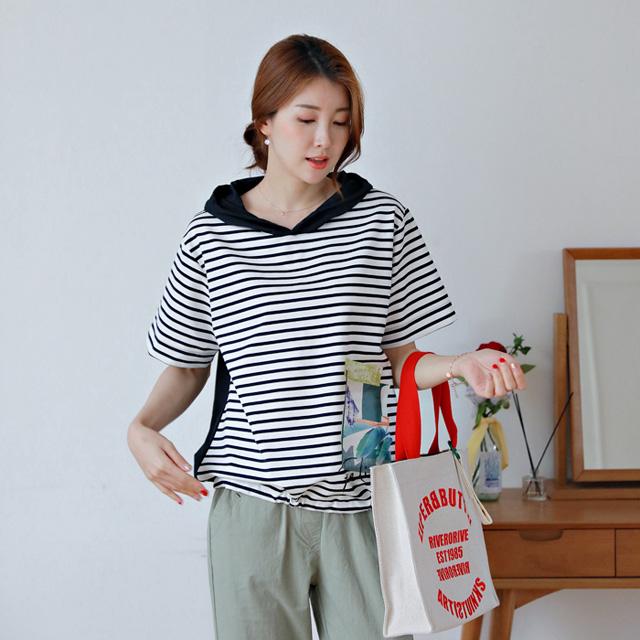 tiramisu-0720이너프단가라후드배색블라우스♡韓國女裝上衣