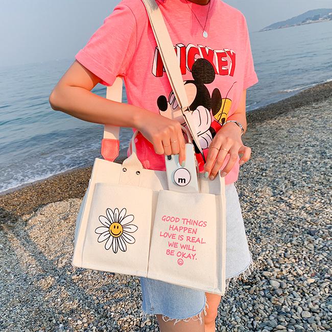 pur-ple-스마일리 포켓 에코백♡韓國女裝袋