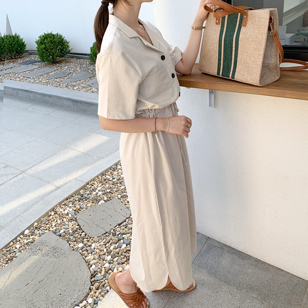 文青裇衫款綁帶連身裙