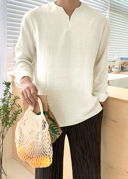 jogunshop-[와이넥 셔팅 트임 셔츠Free(95~105)]♡韓國男裝上衣