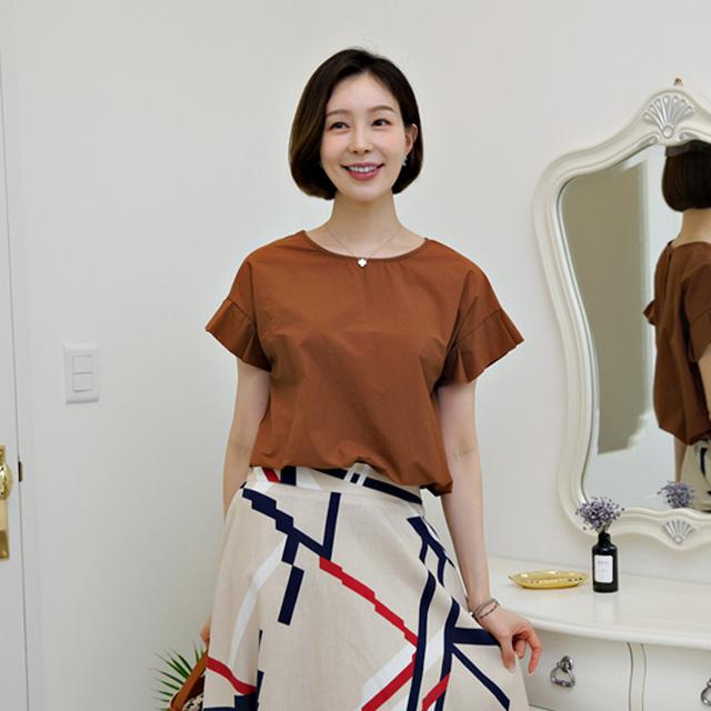 tiramisu-544씽크소매프릴블라우스♡韓國女裝上衣
