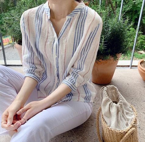 leelin-[안젤리나 린넨ST 블라우스[size:F(55~77)]]♡韓國女裝上衣