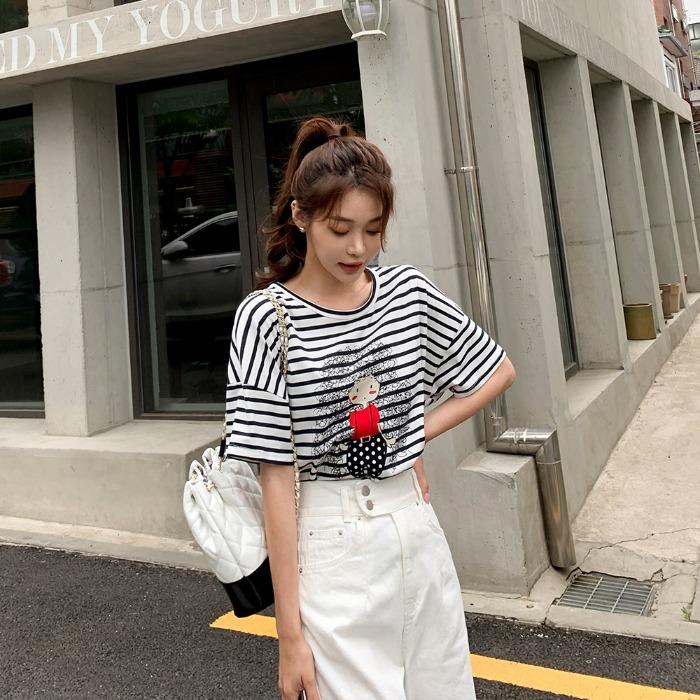 theresheis-미포 스트라이프 티셔츠♡韓國女裝上衣