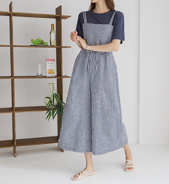 justone-칭카 고방체크 2줄 점프수트♡韓國女裝褲