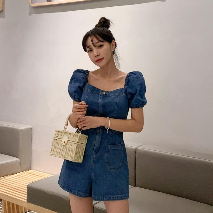 theresheis-오너스 데님 점프수트♡韓國女裝褲