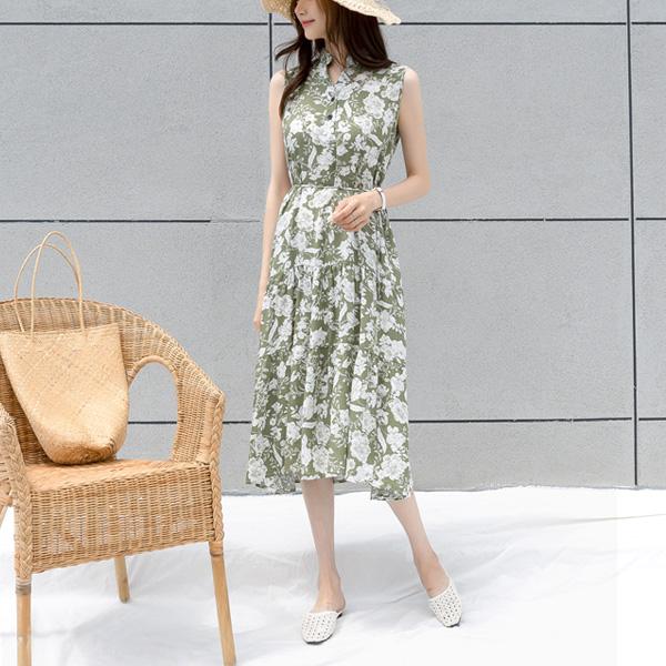 misscandy-[no.18956 플라워패턴 반오픈 쿨링 롱원피스]♡韓國女裝連身裙