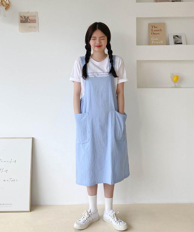 粗帶糖果色連身裙