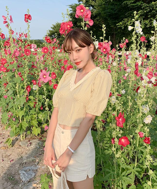 sonyunara-체크퍼프세트♡韓國女裝套裝
