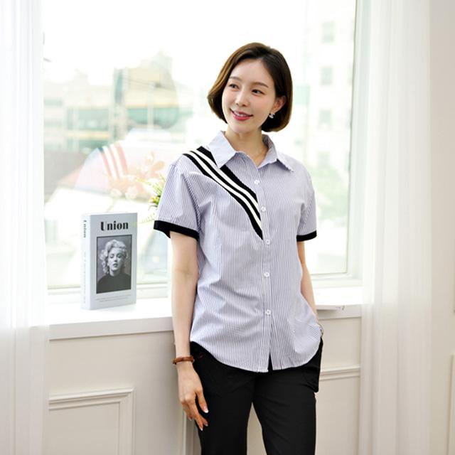 tiramisu-536시보리사선배색스트라이프셔츠♡韓國女裝上衣