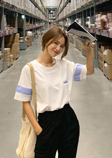 loloten-케스턴 배색티♡韓國女裝上衣