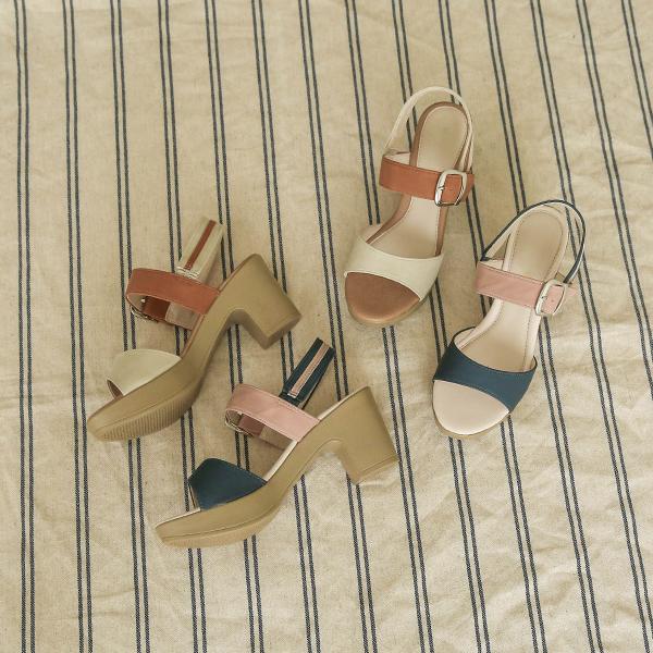 canmart-[버클배색통굽샌들 C062507]♡韓國女裝鞋