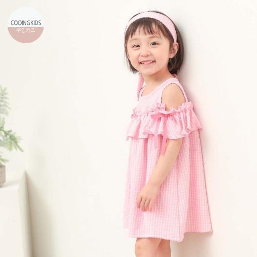 cooingkids-H마린오프숄더원피스(머리띠포함)♡韓國童裝連身裙