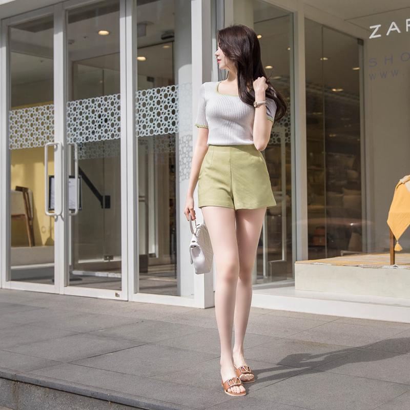 attrangs-ps2191 퀄리티높게 완성된 스페셜한 컬러감의 세련된 슬림핏 하이웨이스트 심플 숏팬츠 pants♡韓國女裝褲