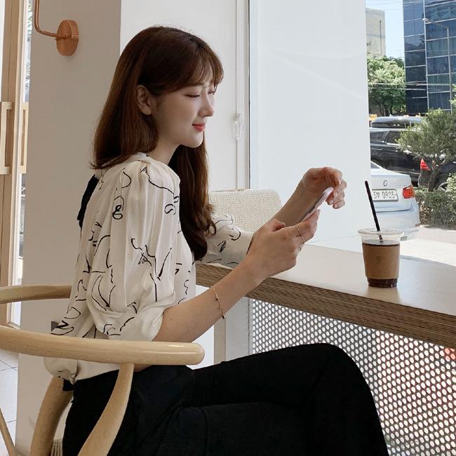likeher-흔하지 않아 블랑bl:뒤리본이 예쁜 블랑♡韓國女裝上衣