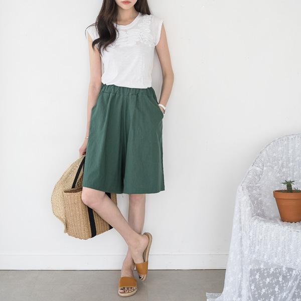 misscandy-[no.15174 린넨혼방 밴딩허리 5부 치마바지]♡韓國女裝褲