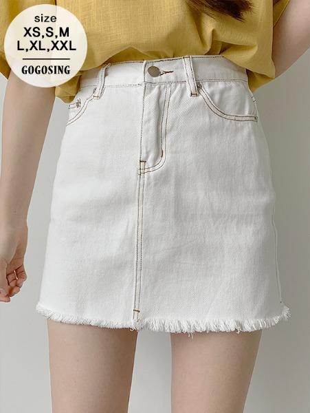 白色破邊短裙
