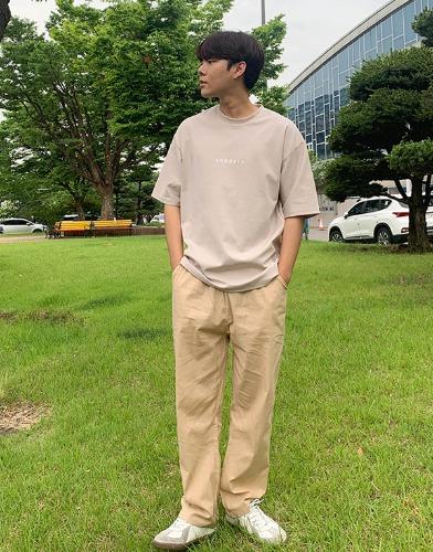 snipershop-선데이 레터링 미니멀 반팔티♡韓國男裝上衣