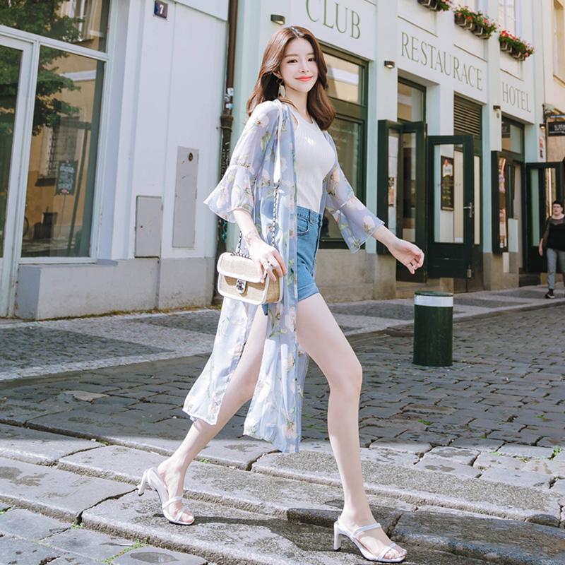 attrangs-cd889 남다른 로맨틱 감성의 프릴 소매 플라워 쉬폰 로브 cardigan♡韓國女裝外套