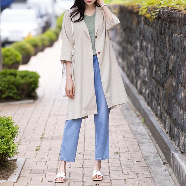 misscandy-[no.17313 사이드버튼&슬릿 7부소매 린넨자켓]♡韓國女裝外套