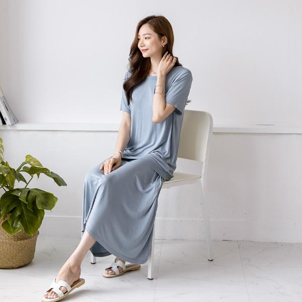 misscandy-[no.18964 쿨링 루즈핏탑+플레어 밴딩스커트 세트]♡韓國女裝套裝