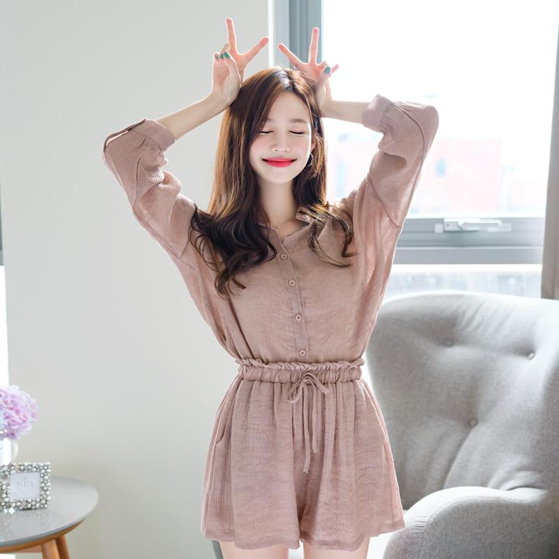 attrangs-op7582(A) 코지한 분위기의 루즈핏 데일리 셔츠와 밴딩 반바지 투피스 세트 two piece set♡韓國女裝褲