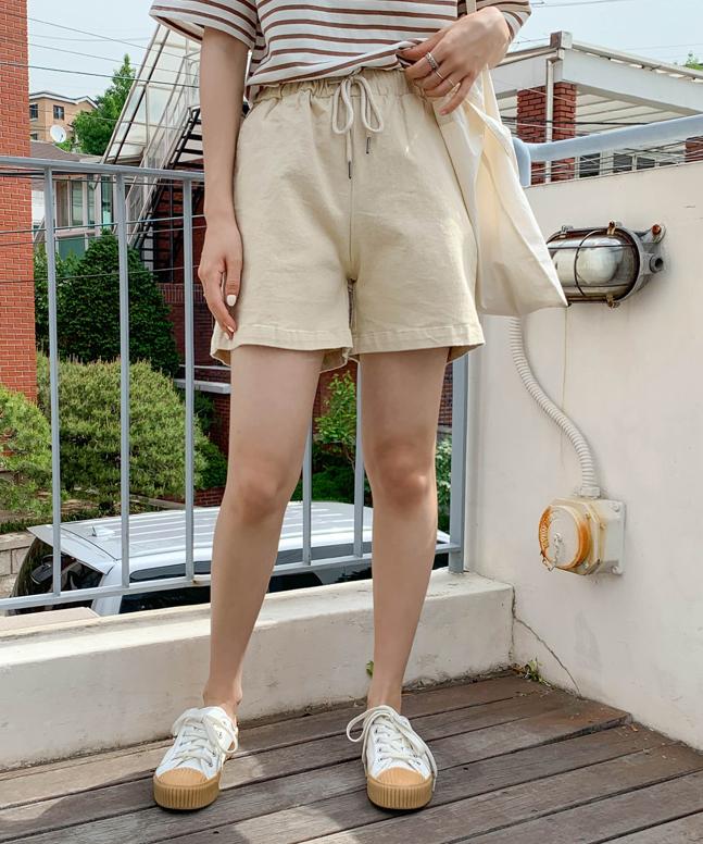 橡根頭綁帶棉褲