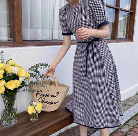 leelin-[브리즈 체크라인 원피스]♡韓國女裝連身裙