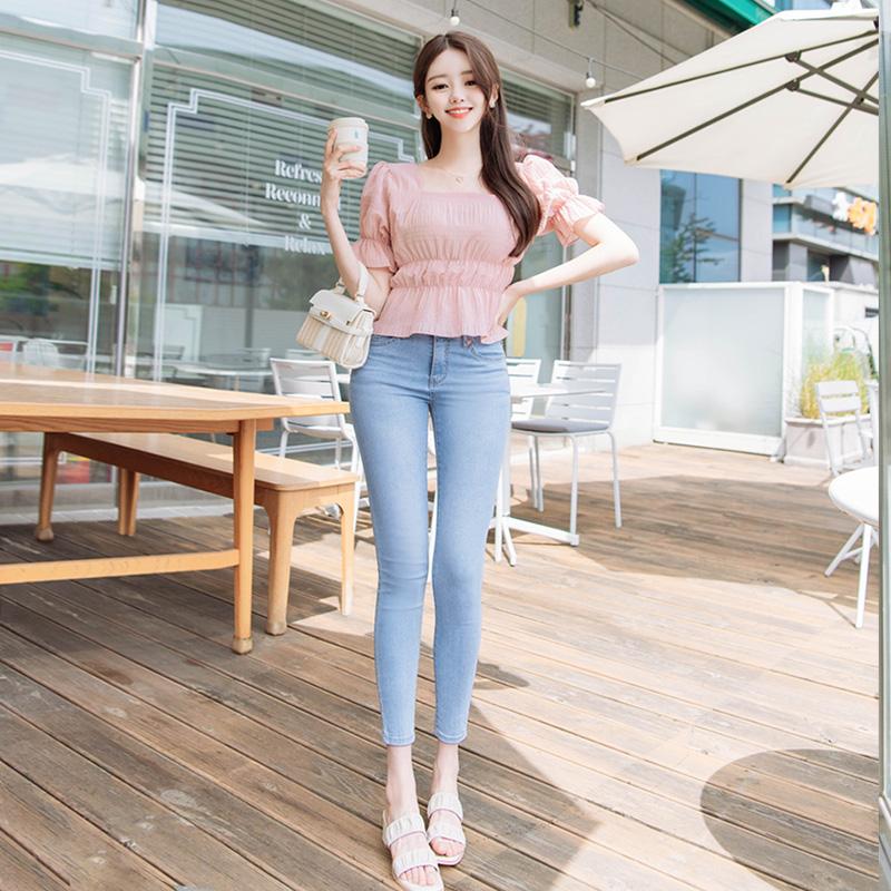 attrangs-ps2236 시원한 쿨맥스 기능성 원단으로 제작된 쫀쫀편안 썸머 데일리 데님스키니진 pants♡韓國女裝褲