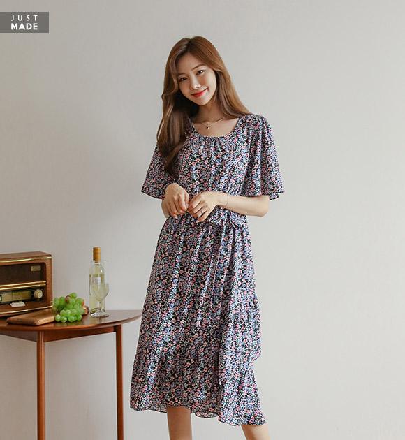 justone-부케 언발러플 꽃원피스(끈set)♡韓國女裝套裝