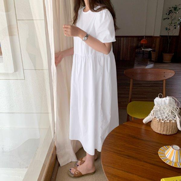 laurenhi-루이브 퍼프 롱 원피스 - 2 color        ♡韓國女裝連身裙