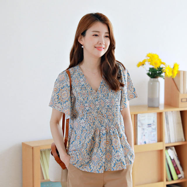 tiramisu-0701스모그주름블라우스♡韓國女裝上衣