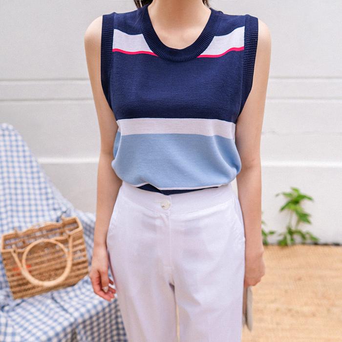 09women-[쿠빈 배색 니트 슬리브리스 49837]♡韓國女裝上衣