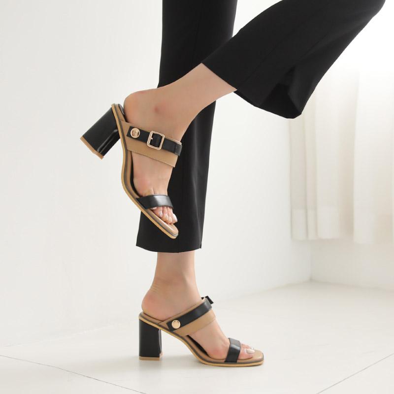 clicknfunny-[톰런배색 샌들힐]♡韓國女裝鞋