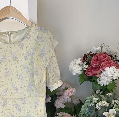 leelin-[로제엔 프릴 잔꽃 원피스]♡韓國女裝連身裙