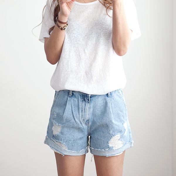 missylook-[뒷밴드 앞주름 청반바지 F840]♡韓國女裝褲