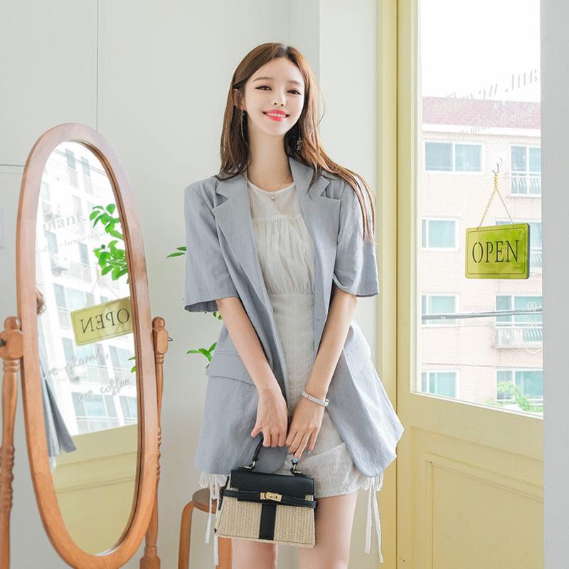 attrangs-jk1232 부드럽고 구김이 적은 린넨혼방 소재의 베이직 투버튼 반팔 자켓 jacket♡韓國女裝外套