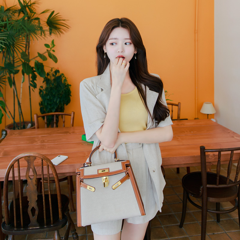 attrangs-jk1238 가볍고 시원한 소프트 린넨 소재감의 세련된 베이직 싱글 반팔 자켓 jacket♡韓國女裝外套