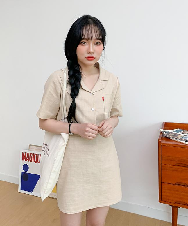 簡約棉麻短裙套裝