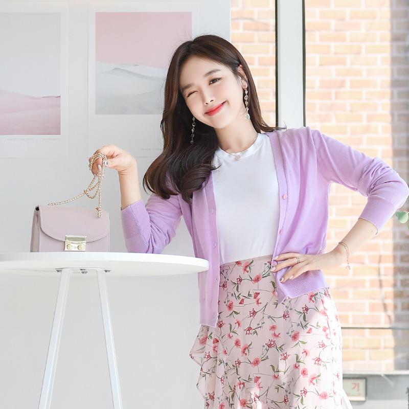 attrangs-cd1047 브이넥과 단추 디테일의 긴팔 니트 가디건 cardigan♡韓國女裝外套