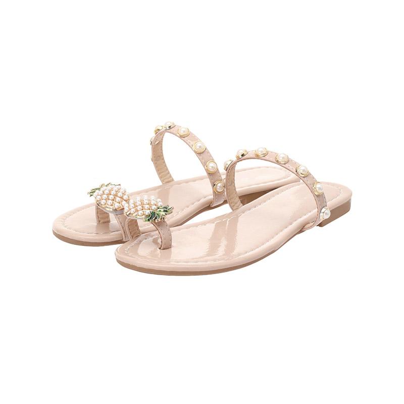 attrangs-sh1508 파인애플 비즈장식 포인트의 캐쥬얼 플리플랍 쪼리 shoes♡韓國女裝鞋