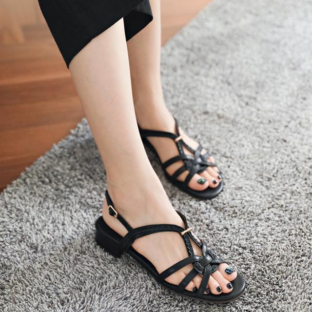 tiramisu-TR/꼬임버클샌들♡韓國女裝鞋