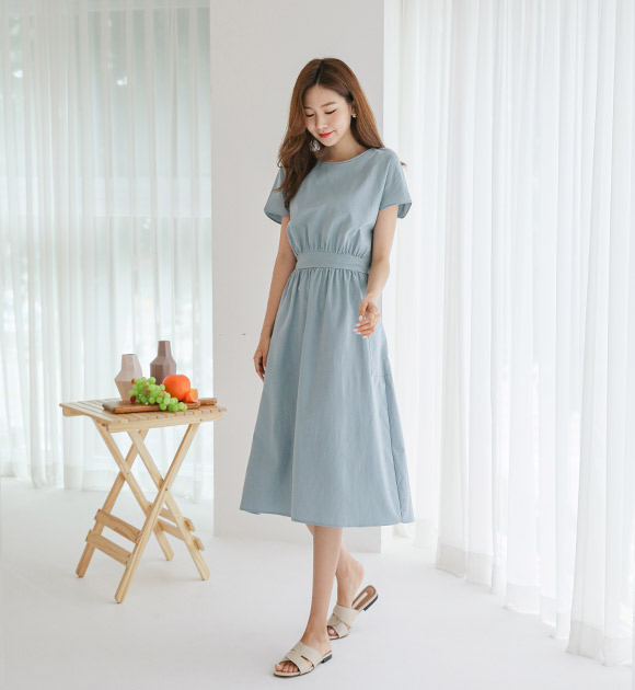 justone-포린 뒷리본 스티치라인 원피스♡韓國女裝連身裙