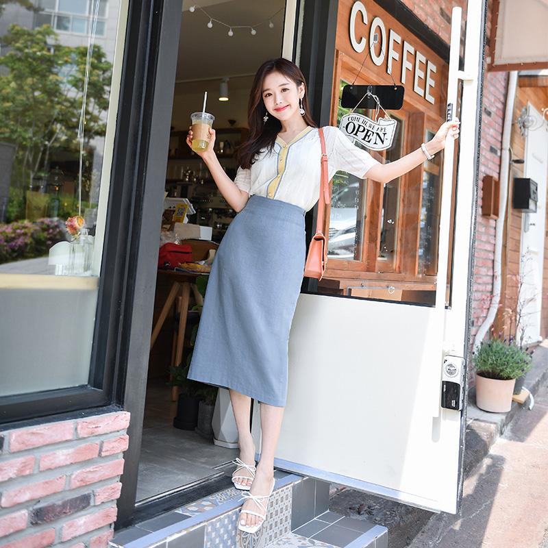 attrangs-sk3481 뒷 라인 트임 디테일의 백밴딩 스커트 skirt♡韓國女裝裙