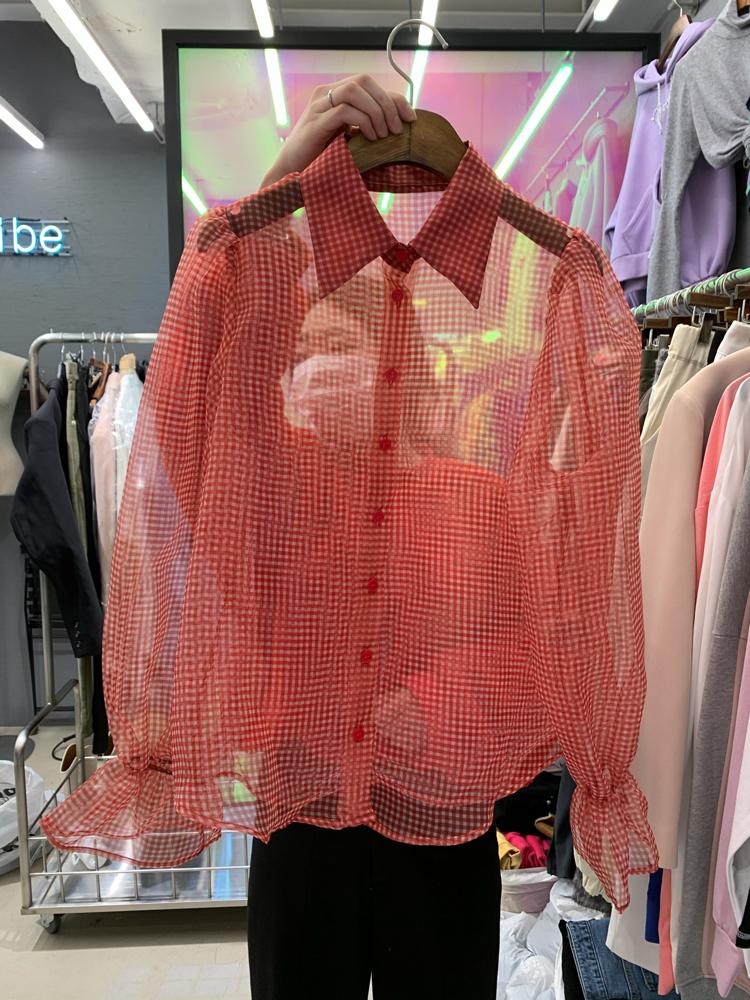 Vintage vibe-- 女士長袖時尚透視風襯衣不含其它&
